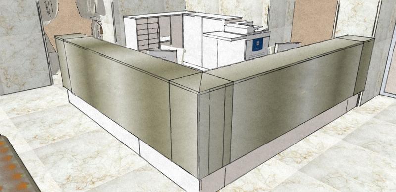 Caprichos de Hogar Decoración muebles a medida Salamanca Madrid España Cabo Verde proyecto 3d despacho profesional escritorio mostrador acero tintado (2)