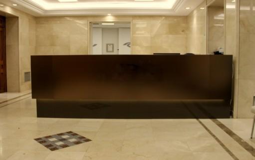 Caprichos de Hogar Decoración muebles a medida Salamanca Madrid España Cabo Verde proyecto 3d despacho profesional escritorio mostrador acero tintado (3)