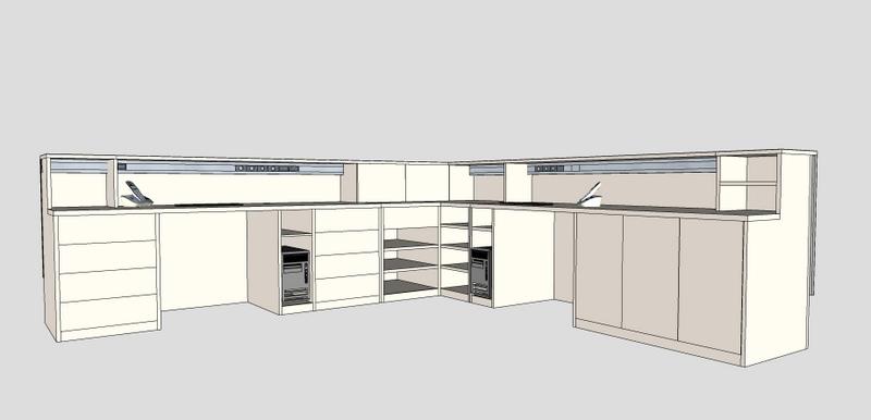Caprichos de Hogar Decoración muebles a medida Salamanca Madrid España Cabo Verde proyecto 3d despacho profesional escritorio mostrador acero tintado (4)