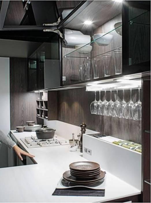 cocina Salamanca Caprichos de Hogar Delta puerta apertura coplanar y puerta superior apertura abatible iluminacion led expositor para copas (4)